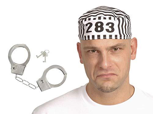 Alsino Knast Gefängnis Kostüm Set 2-teilig (Kv-147) mit Sträflingsmütze und Chrom-Handschellen