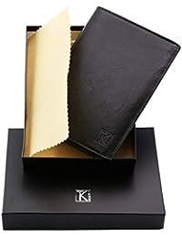 TK 1979 - Portefeuille cuir noir - Portefeuille homme - 15x11 TK01 PACK cadeau parfait pour Noël. une fête. un anniversaire - Noir, Cuir