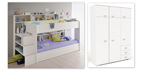 6. Expendio Kinderzimmer Twin 53 Weiß Etagenbett Mit Bettkasten  Kleiderschrank Hochschrank Bett