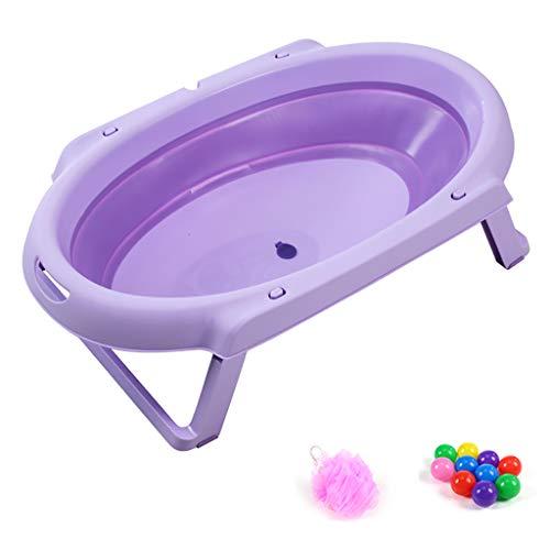 XUEPING Baby-Faltbad Badewanne, Tragbare Haushaltsgeräte, Elliptisch Dicker Kunststoff Antidumping Kinder Duschwanne 81 * 47 * 22 Cm 4 Farben (Farbe : Purple)