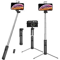Mpow Selfie Stick Treppiede, [4 in 1] Bastone Selfie Bluetooth Treppiede Estensibile, 360 ° Rotazione Selfie Stick Cavalletto con Bluetooth Controllo Remoto per Gopro/iPhone/Android