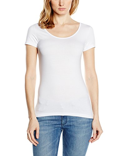 Ss-stretch-shirt (VERO MODA Damen T-Shirt Vmmaxi My SS Soft U - Neck NOOS, Einfarbig, Gr. 38 (Herstellergröße: M), Weiß Bright White)