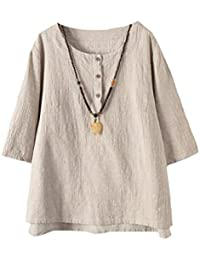 d5c5cc3716d Vogstyle Femmes T-Shirts Coton Lin Chemise Chic Simple Haut Jacquard Tops  Tunique