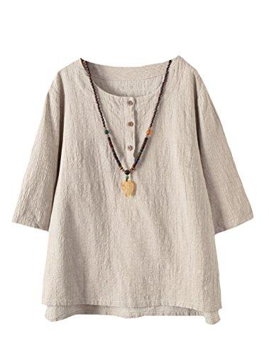 Jacquard-großen T-shirt (Vogstyle Damen Baumwoll Leinen Tunika T-Shirt Jacquard Oberseiten, Aprikose, XXL)