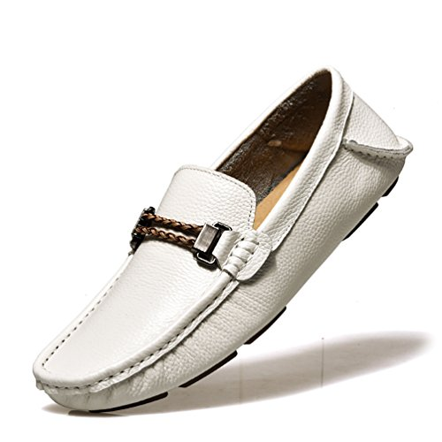 Baymate Homme Slip-on Loisirs Loafers Antidérapantt Chaussures de Conduite Blanc