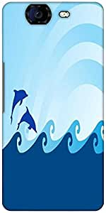Snoogg Sea Wave And Dolphin On Blue Background Designer Protective Back Case Cover For Micromax Canvas Knight A350