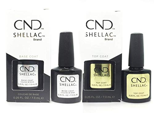 CND Shellac SET Base & Top Coat, 7.3 ml, Confezione da 2 pezz