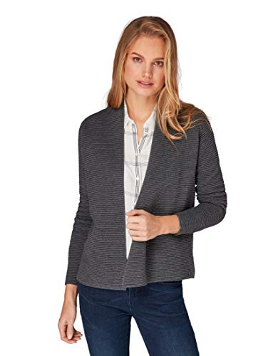 TOM TAILOR Casual Damen Pullover Ottomane Strickjacke, Open Cardigan, Grau (Alloy Grey Melange...