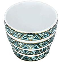 Ivy HomeStop Round Aztec Print Ceramic Planter (Blue Melange)
