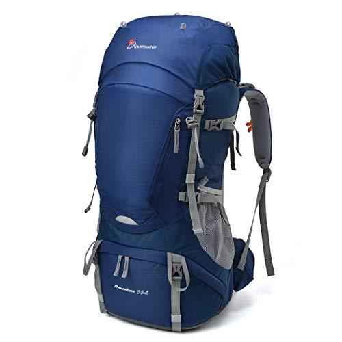 MOUNTAINTOP 55L Erwachsene Trekkingrucksäck Wanderrucksack Rucksack für Reisen Outdoor Klettern Camping mit Regenhülle (Dunkel Blau-55L)