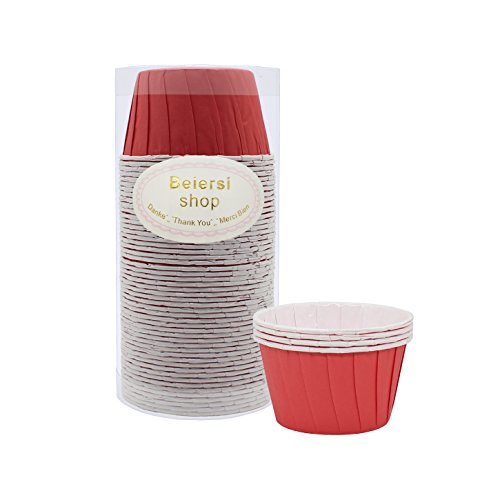 Beiersi 50Pcs Papier Kuchen Tasse Cupcake Fällen Liner Muffin Hohe Temperaturbeständige Backen Tassen (Rot) Tasse Kuchen