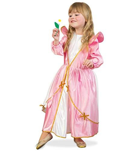 KarnevalsTeufel Prinzessin rosa Kleid mit weißem Einsatz goldene Borte und durchscheinendem Überrock (104) (Aristocats Kinder Kostüm)