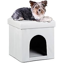 Relaxdays Asiento con casa para Mascotas Hecho de Cuero Artificial con Medidas 38 x 38 x 38 cm Peso 2.5 Kg Banco Taburete reposapies, Color Blanco