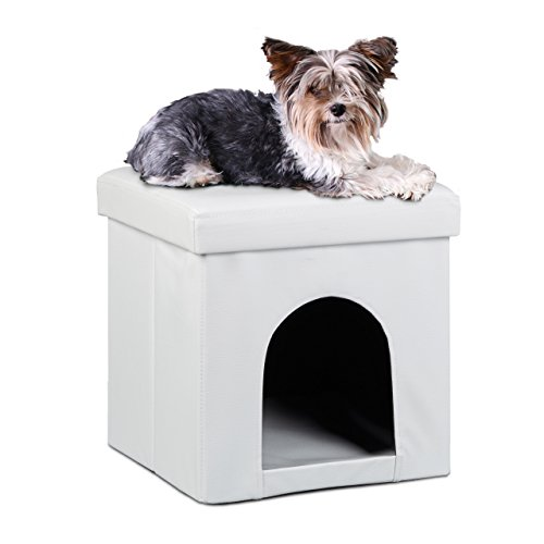 Relaxdays cuccia puff pieghevole per cane/gatto, finta pelle, 38 x 38 x 38 cm, bianco