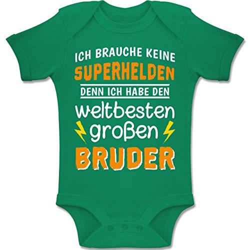 erliebe Baby - Ich Habe den weltbesten großen Bruder - 1-3 Monate - Grün - BZ10 - Baby Body Kurzarm Jungen Mädchen ()