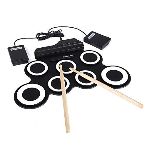 Calmson Tragbare USB-Elektronische Jazz Drums - Handrolle Silikon Faltbare Trommeln schwarz