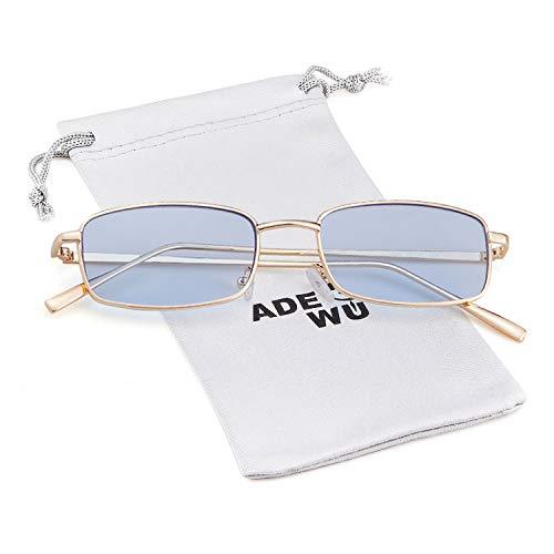ADEWU Platz Sonnenbrille Mode Retro Brille für Damen Herren (Blau Linse + Gold Rahmen) (Sonnenbrille Retro Blaue)