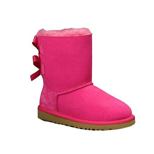 Minetom Femmes Bow Hiver Chaudes Bottes De Neige Fourrées Cheville Chaussures Plates Rose