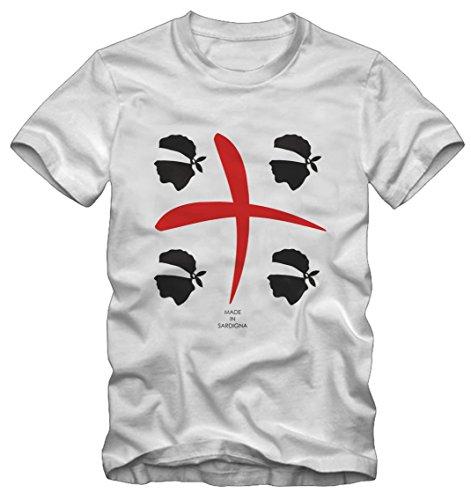T-shirt 4 mori sardegna by bisura (m uomo, bianco)
