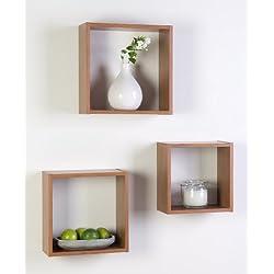 Duraline Tres Cubos de estantería, madera de haya, 27x 27x 10/24x 24x 10/21x 21x 10cm, 3unidades)