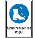 INDIGOS UG - Sicherheitsschuhe tragen Gebotsschild, selbstklebende Folie, Größe 13,10x18,50 cm - Sicherheit Warnung B�