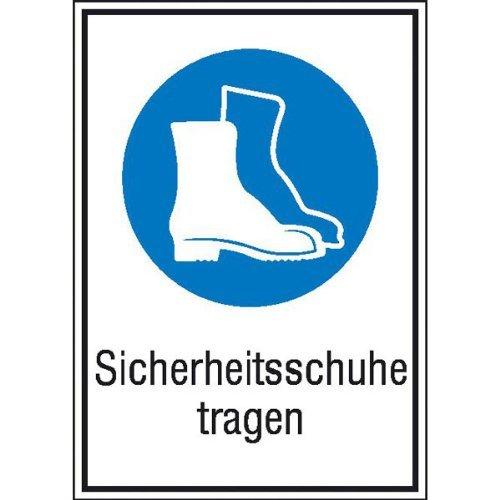 Preisvergleich Produktbild INDIGOS UG - Sicherheitsschuhe tragen Gebotsschild,  selbstklebende Folie,  Größe 13, 10x18, 50 cm - Sicherheit Warnung Büro Betrieb Werkstatt