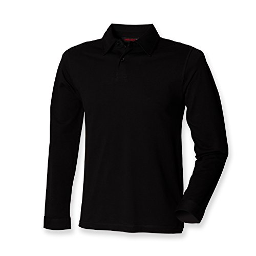 Skinni Fit - Polo - - Uni - Col polo - Manches longues Homme - Noir - Noir - Medium
