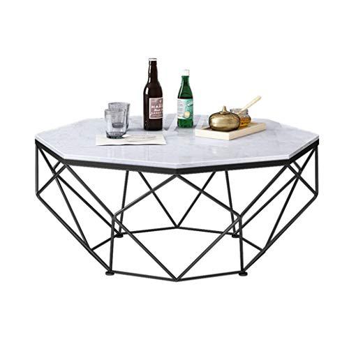WXiaJ-Kaffetisch Schmiedeeiserner Couchtisch, großer Marmortisch, massiver Metallrahmen, stilvolle Einfachheit, entworfen für Moderne Wohnhotels, Schwarz, Octagon, Verschiedene Größen erhältlich