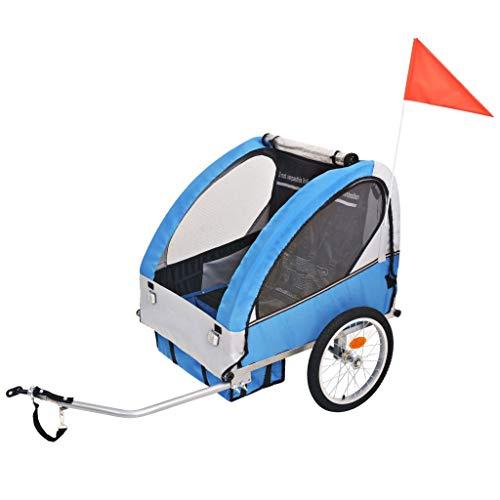 vidaXL Remorque de Vélo pour Enfants Gris et Bleu Remorque de Bicyclette