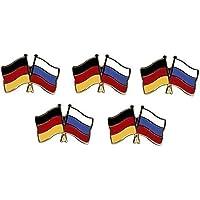 5er Pack Deutschland - Russland Freundschaftspin Yantec Pin Flagge