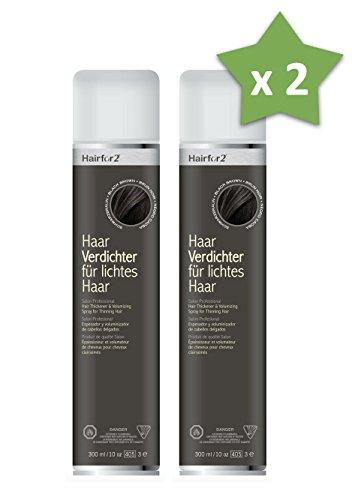 2 x Hairfor2 300 ml. Haarverdichter Spray Streuhaar Schütthaar Microhairs Hair Fiber, Farbe:Schwarz