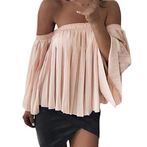 Longra Damen Chiffon Bluse Schulterfrei Bluse Hemd Damen Elegante Mode Bluse Shirts Langarm Plissee Rosa Tunika Blusen Chiffon Langarmshirt Elegant Oberteile für Frühjahr-Sommer (Pink, XL) (Plissee Hals)