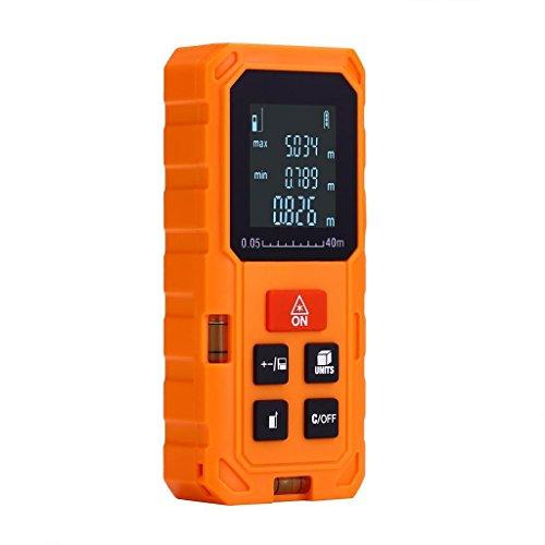 ELECTROPRIME 40m/131ft Mini Digital Laser Distance Meter Rangefinder Diastimeter Orange