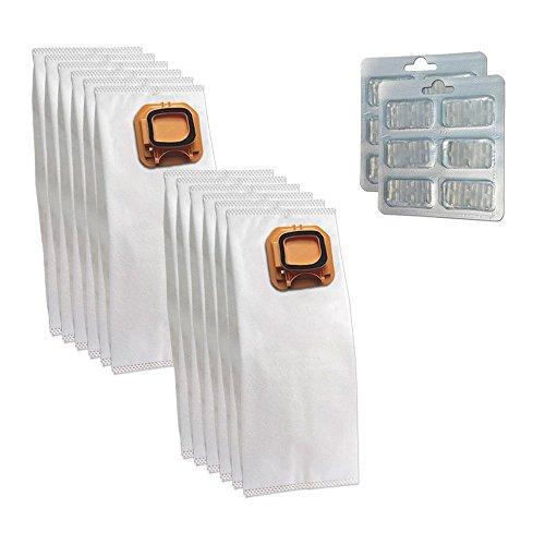 SET 12 Sacchi / Sacchetti (Microfibra) + 12 Profumini per aspirapolvere Vorwerk Folletto Kobold VK 140, 150, VK140, VK150