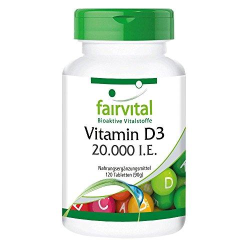 fairvital vitamin d3 Vitamin D3 20.000 I.E. Depot - GROSSPACKUNG - HOCHDOSIERT - 120 Tabletten - nur alle 20 Tage 1 Tablette - Cholecalciferol