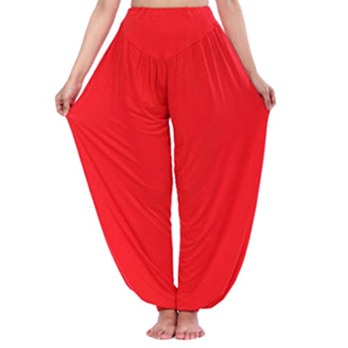 Lange Hosen für Damen Mode Einfarbig Loose Fit Haremshose mit Elastischer Taille Casual Hose Jeggings für Sport Yoga Pilates Übergröße