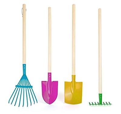 Small Foot 10838 Gartenwerkzeug-Set Kunterbunt für Kinder, 4-Teilig Bestehend aus Rechen, Schaufel, Spaten und Harke, aus Metall mit Holzstiel, Rollenspielzeug für Spielspaß an Der Frischen Luft