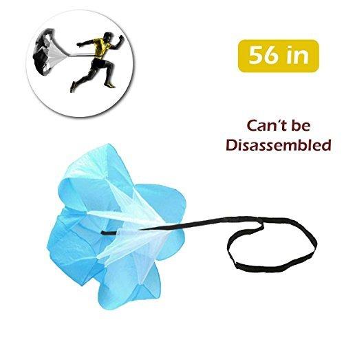 TRIWONDER 40/56 Zoll Geschwindigkeit Ausbildung Widerstand Fallschirm Lauf Sprint Chute für Fußball Fußball Sport Power Geschwindigkeit Training & Fitness Core Krafttraining (Blau - 56in)