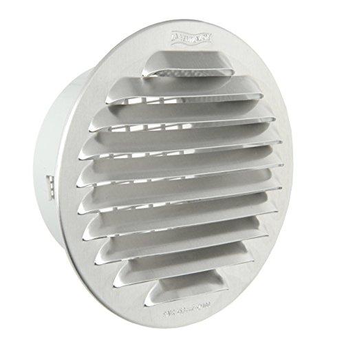 La Ventilazione GTAP100R Griglia Tonda da Incasso, Alluminio, 125 mm