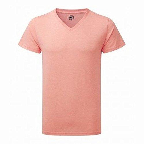 Russell Herren HD T-Shirt mit V-Ausschnitt, kurzärmlig Koralle meliert