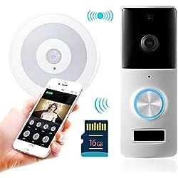 YJF-ZWS Vidéo Sonnette, Caméra Intelligente de Sonnette sans Fil WiFi HD IP55 Caméra de sécurité à Domicile étanche Vidéo en Temps réel pour iOS et Android