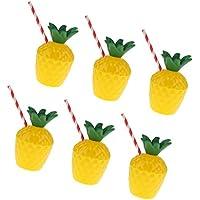 Sharplace 6 Piezas Vasos Forma de Piña Plásticos con Paja Hawai Accesorio de Fiesta de Playa de Verano Piscina Party