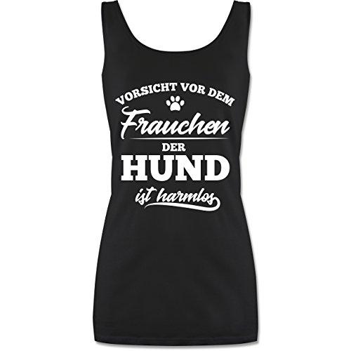 Hündin Tank (Shirtracer Hunde - Vorsicht vor dem Frauchen der Hund ist harmlos - S - Schwarz - P72 - lang-geschnittenes Tanktop für Damen)