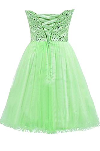 Sunvary, lustrini e strass una linea di Sweetheart applicate breve fiesta abito da ballo cocktail verde manzana