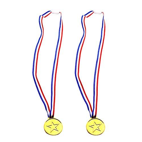 Toyvian Kids Goldmedaille Gewinner Plastic Award Medaillen für Sportwettbewerbe Spiele Party Favors 100 Stück