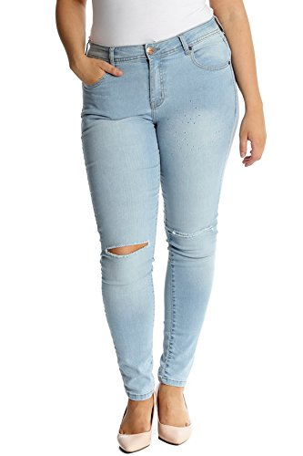 Nouvelle Collection Womens Plus Size Straight Leg Ripped Jeans