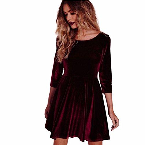 Kleid,Honestyi Frauen Kleid rund Hals samt Kleid drei Viertel Ärmel Kleid Elegant Partykleider Vintage Minikleid Rockabilly Kleid Cocktailkleider (L, Rot) (Tragen Weißer Hals)