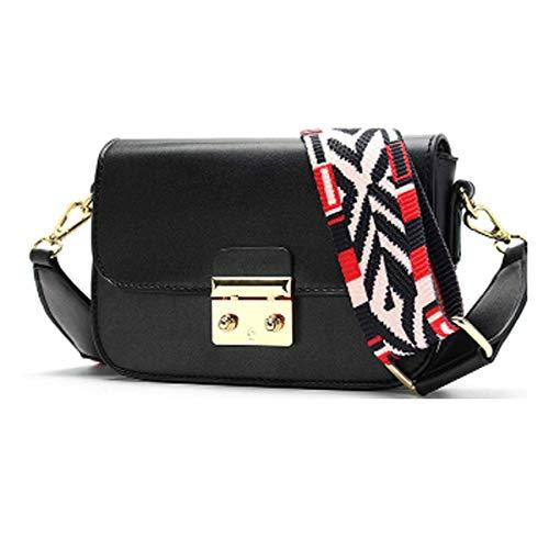 Neue Damen Tasche breiter Schultergurt kleine quadratische Tasche Schulter Diagonal Damen Tasche Mode (schwarz, one) (Gucci Kleine Tasche)