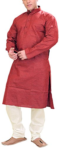 Exotic India Men's Plain Khadi Kurta with White Pyjama Set - Color...