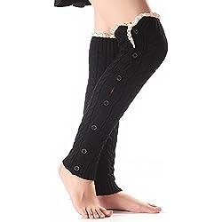 TININNA Moda Natale caldo Calzino pizzo Lana a maglia Calze al ginocchio con pulsante Scaldamuscoli per le donne ragazze Nero